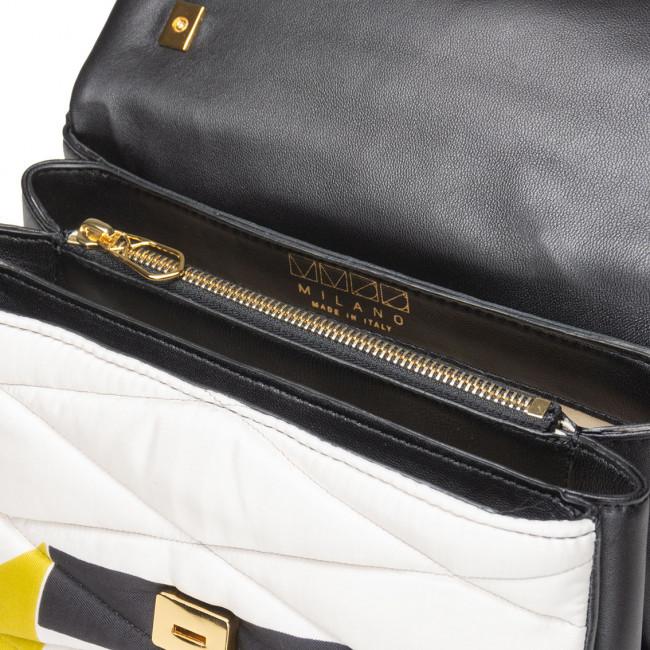 Borsa tessuto seta pelle matelassé upcycling dettagli oro shoulder bag multi comparto sera unica