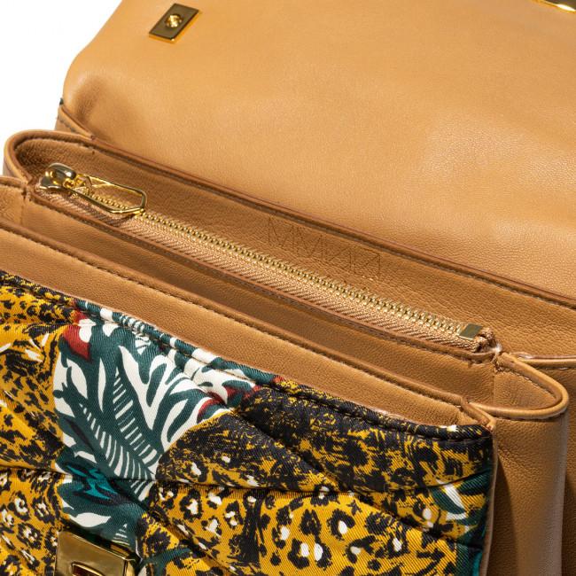 Bag silk fabric and leather matelassé upcycling gold details shoulder bag multi pockets evening unique